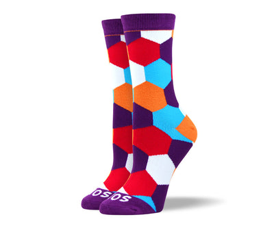 Women's Crazy Purple Hexagon Socks