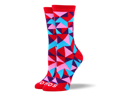 Women's Trendy Red Mosaic Socks