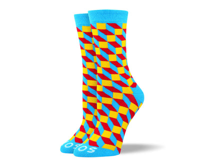 Women's Crazy Blue 3D Cube Socks