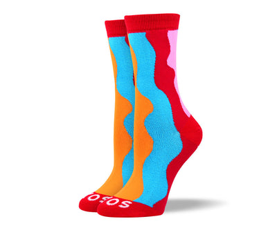 Women's Fun Red Waves Socks