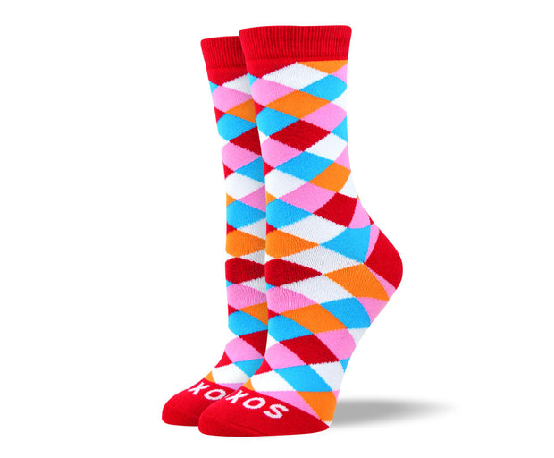 Women's Funky Red Diamond Socks