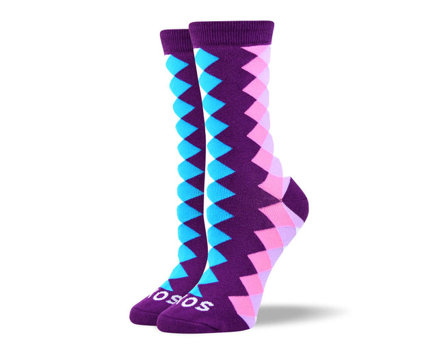 Women's Trendy Purple Diamond Socks
