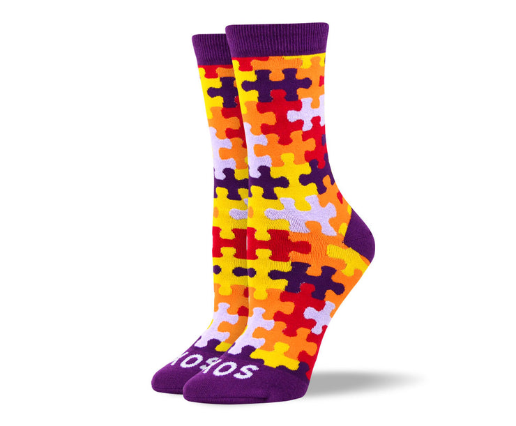 Women's Orange Puzzle Autism Socks