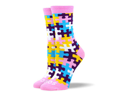 Women's Fun Pink Puzzle Socks