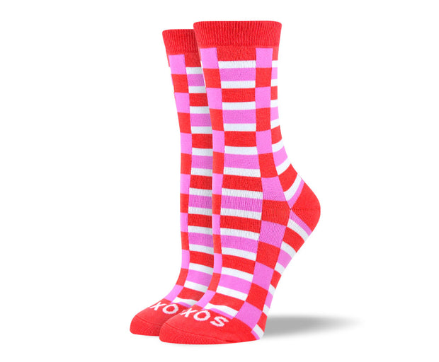 Women's Cool Red Checkered Socks