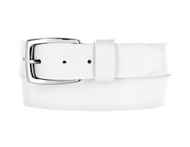Mens White Leather Belt