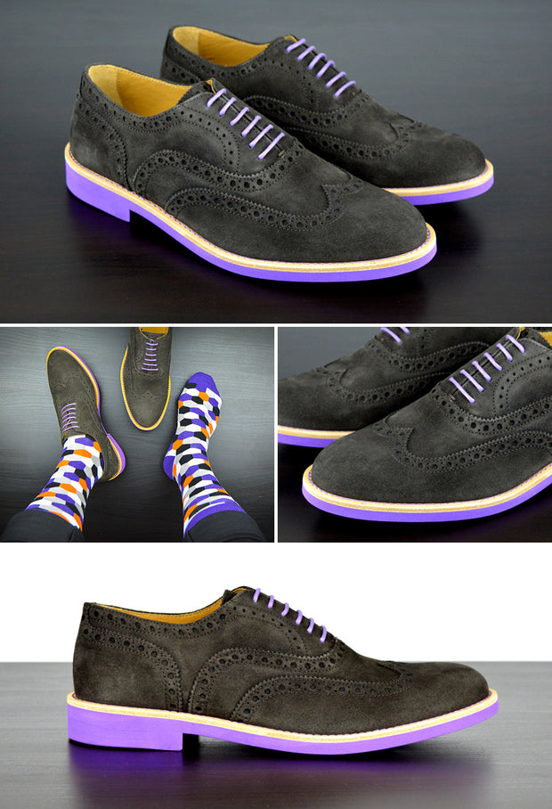 Mens Grey & Purple Suede Wingtip Dress Shoes - Size 10