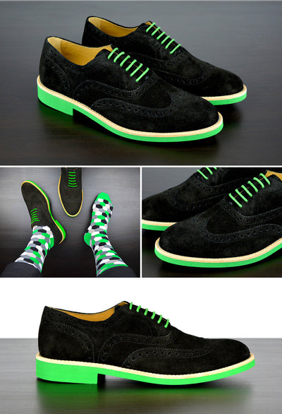Mens Black & Green Suede Wingtip Dress Shoes - Size 12