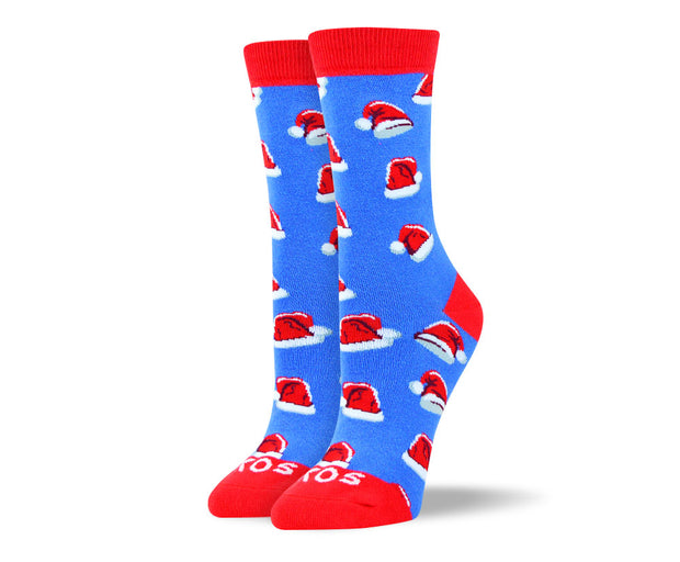 Women's Christmas Socks in Blue Santa Hat