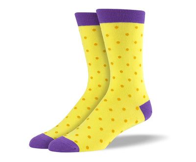 Men's Yellow Small Polka Dots Socks
