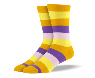 Men's Yellow & Purple Thick Stripes Socks