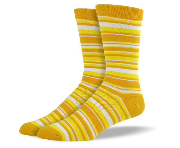 Men's Yellow & White Thin Stripes Socks