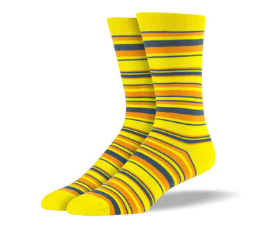 Men's Yellow & Grey Thin Stripes Socks
