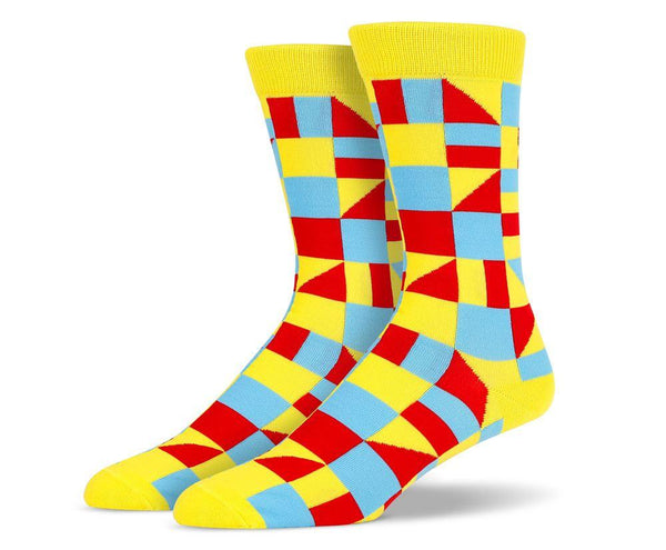 Mens Yellow Multi Shape Socks