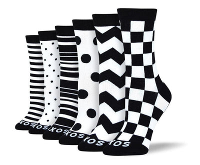 Women's Fancy Black & White Sock Bundle - 6 Pair