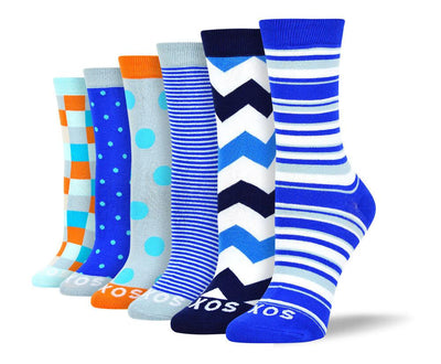 Women's Pattern Blue Sock Bundle - 6 Pair