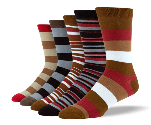 Men's Brown Mix Stripe Sock Bundle