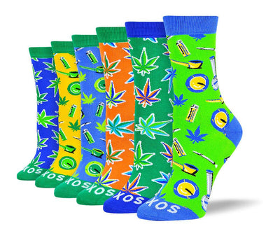 Women's Trendy Weed Sock Bundle - 6 Pair