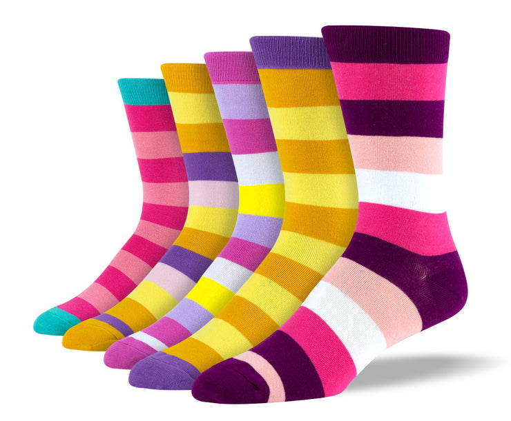 Men's Cool Pastel Thick Stripe Sock Bundle