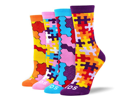 Women's Trendy Puzzle Sock Bundle - 4 Pair