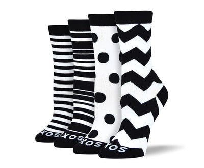 Women's Cool Black & White Sock Bundle - 4 Pair