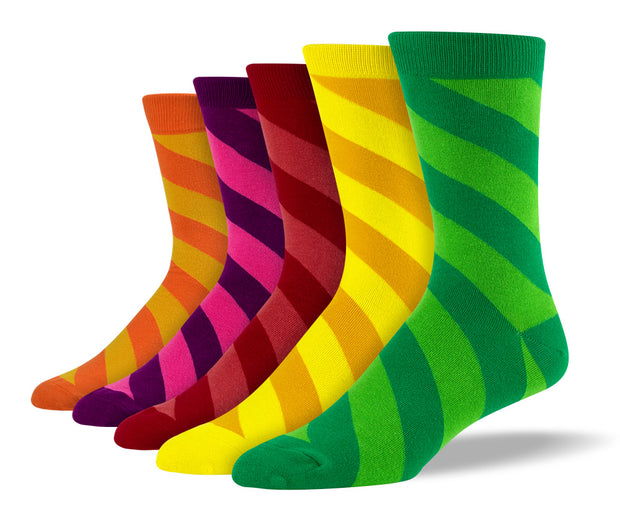 Men's Funky Diagonal Stripe Sock Bundle