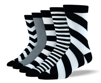 Mens Black & White Mix Stripe Sock Bundle
