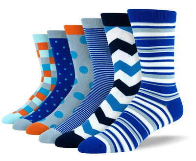 Men's Pattern Blue Sock Bundle - 6 Pair