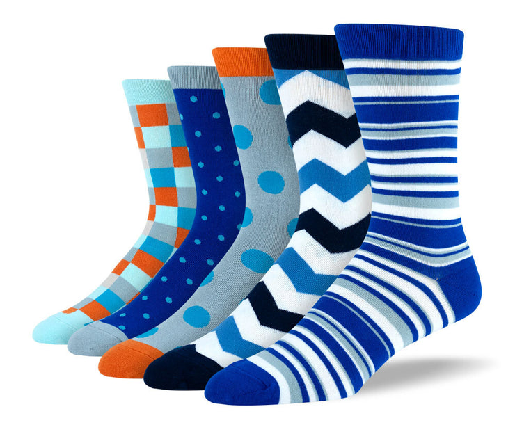 Men's Funky Blue Sock Bundle - 5 Pair