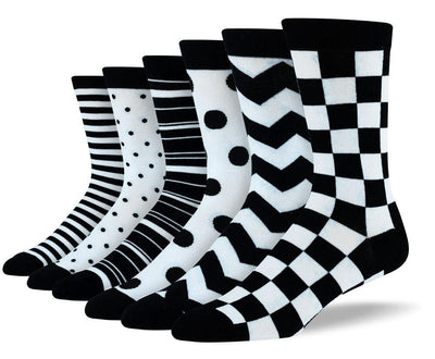 Men's Fancy Black & White Sock Bundle - 6 Pair