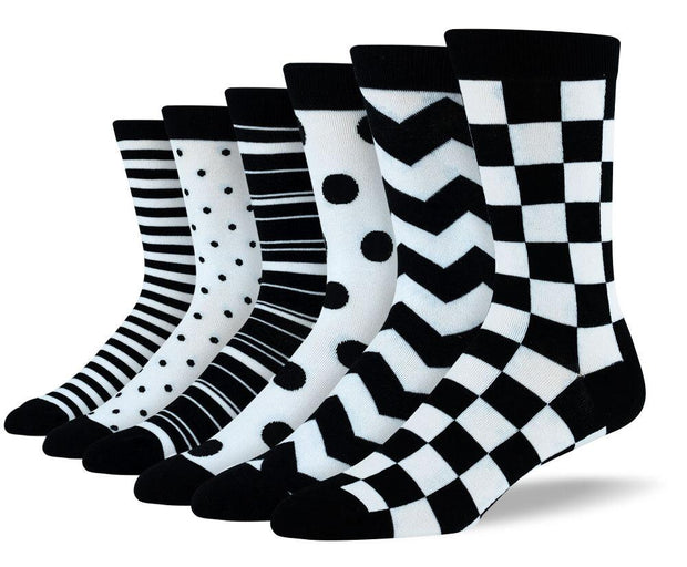 Men's Fun Black & White Sock Bundle - 6 Pair