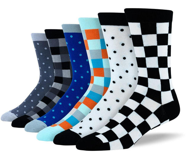 Men's Fun Checkered & Polka Dot Bundle - 6 Pair