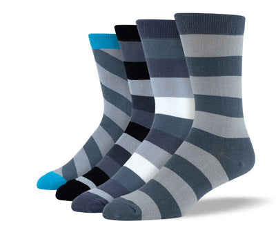 Men's Grey Thick Stripe Sock Bundle