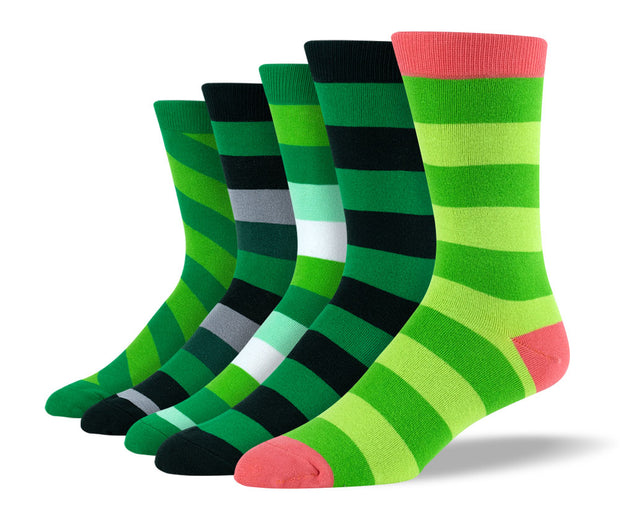 Men's Green Thick Stripe Sock Bundle