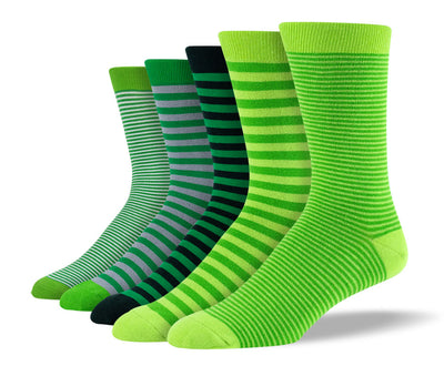 Men's Green Thin Stripe Sock Bundle
