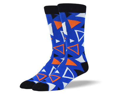 Men's Blue Triangle Pattern Socks