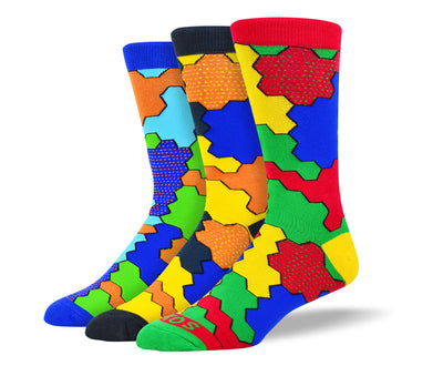 Men's Fun Jigsaw Sock Bundle - 3 Pair