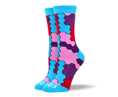 Women's Fancy Blue Jigsaw Socks For Autism