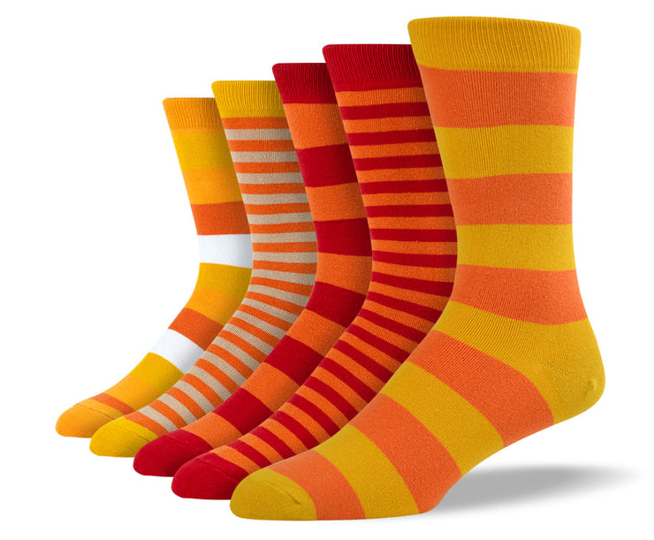 Men's Orange Mix Stripe Sock Bundle