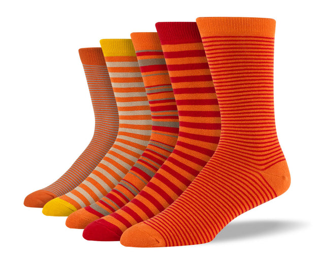 Men's Orange Thin Stripe Sock Bundle