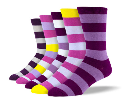 Men's Purple Thick Stripe Sock Bundle