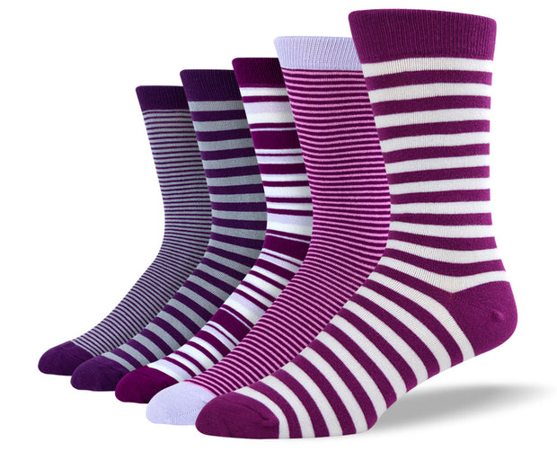 Men's Purple Thin Stripe Sock Bundle
