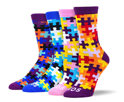 Men's & Women's Colorful Puzzle Sock Bundle - 4 Pair