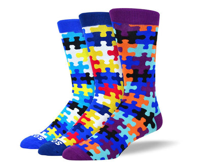 Men's Colorful Puzzle Sock Bundle - 3 Pair