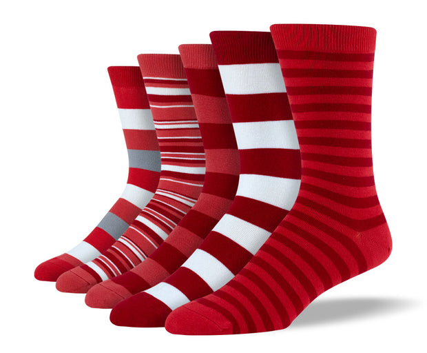 Men's Red Mix Stripe Sock Bundle