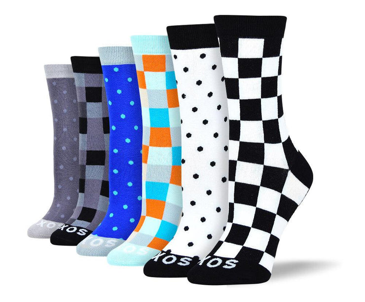 Women's Crazy Fun Checkered & Polka Dot Bundle - 6 Pair
