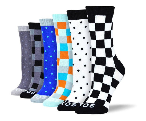 Women's Fun New Checkered & Polka Dot Bundle - 6 Pair