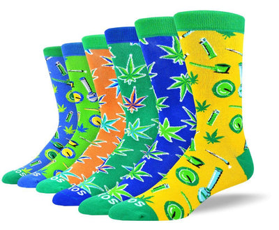 Men's Colorful Weed Sock Bundle - 6 Pair