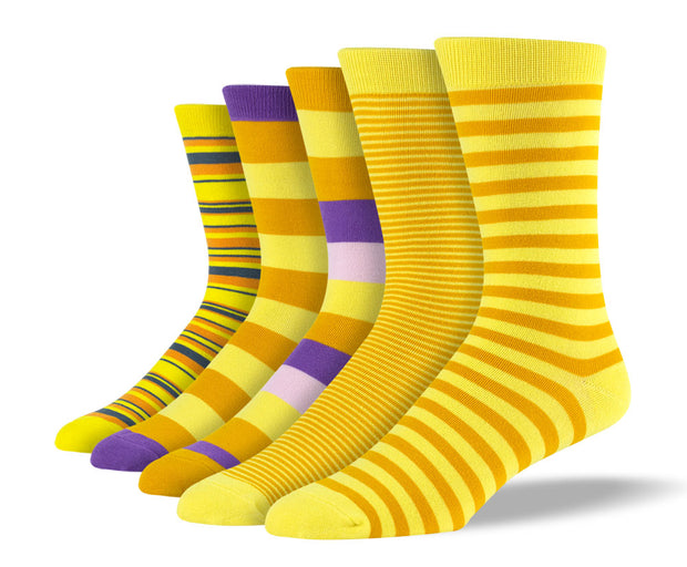 Men's Yellow Mix Stripe Sock Bundle