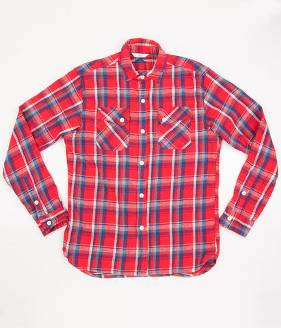 3sixteen Crosscut Flannel Shirt - Red & Blue